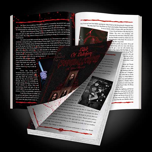 "Cannibal Corpse ""Bible Of Butchery"" out now! Click on graphic to order your copy."