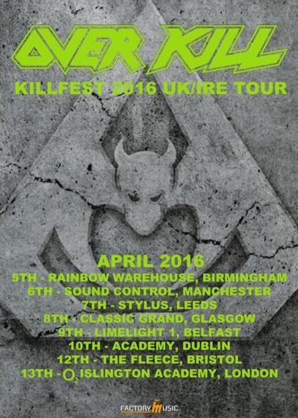 overkill 2016 european tour poster