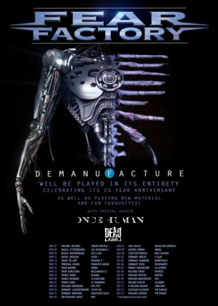 FEAR FACTORY - DEAD LABEL - ONCE HUMAN TOUR POSTER