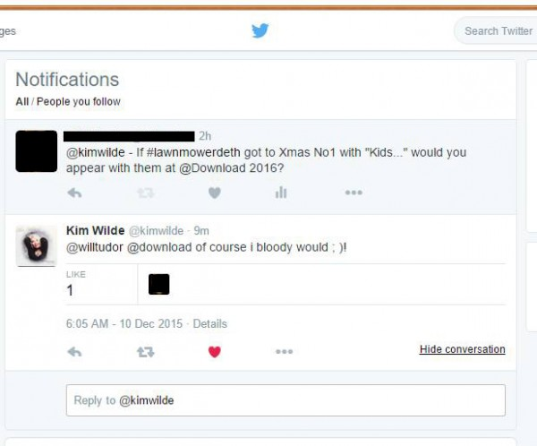 Kim Wilde Response
