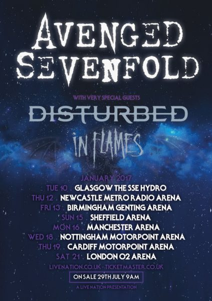 Avenged Sevenfold, In Flames, Dsturbed tour 2016