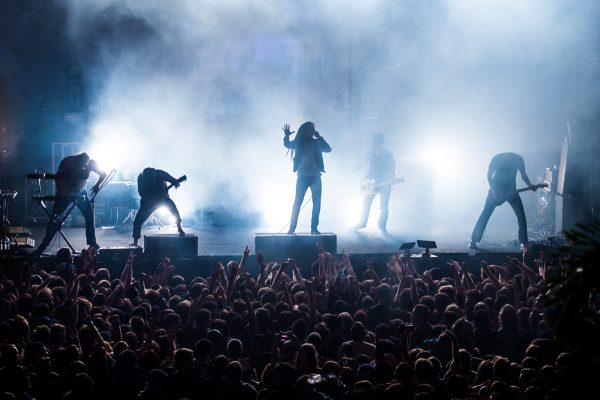 Christopher Dudley, Timothy McTague, Spencer Chamberlain, Grant Brandell, and James Smith of Underoath perform their final show on January 26, 2013 at Jannus Live in St. Petersburg, Florida