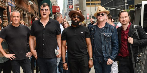 "NEW YORK, NY - JUNE 04: (L to R) Afghan Whigs musicians John Curley, Greg Dulli, Steve Myers, Dave Rosser, and Rick Nelson leave the ""Late Show With David Letterman"" taping at Ed Sullivan Theater on June 4, 2014 in New York City. (Photo by Ray Tamarra/WireImage)"