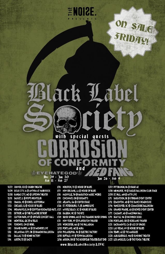 Black Label Society tour, Red Fang, Corrosion of Conformity, Eyehategod