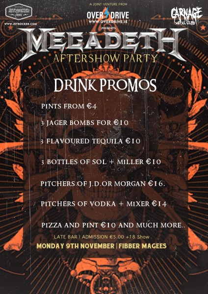 megadeth aftershow drink promos