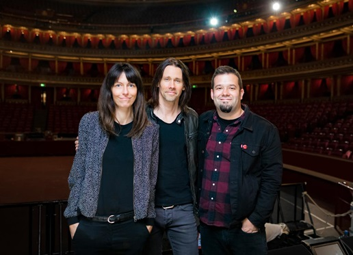 L-R: Billie Klein (Napalm Records), Myles Kennedy, Tim Tournier (manager)]