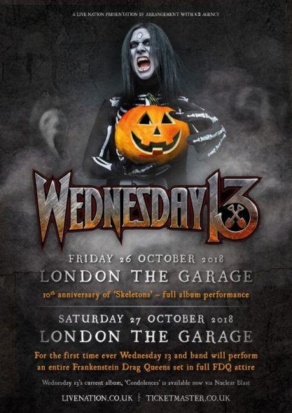 Wednesday 13 UK dates October 2018