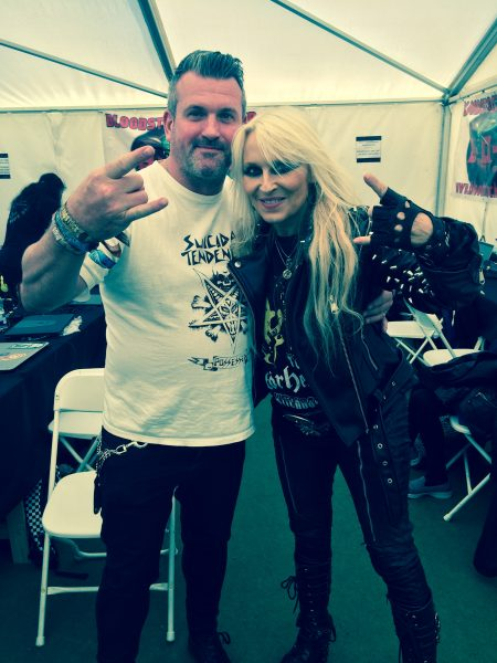 Oran O'Beirne (Overdrive) with Doro Pesch at Bloodstock 2018
